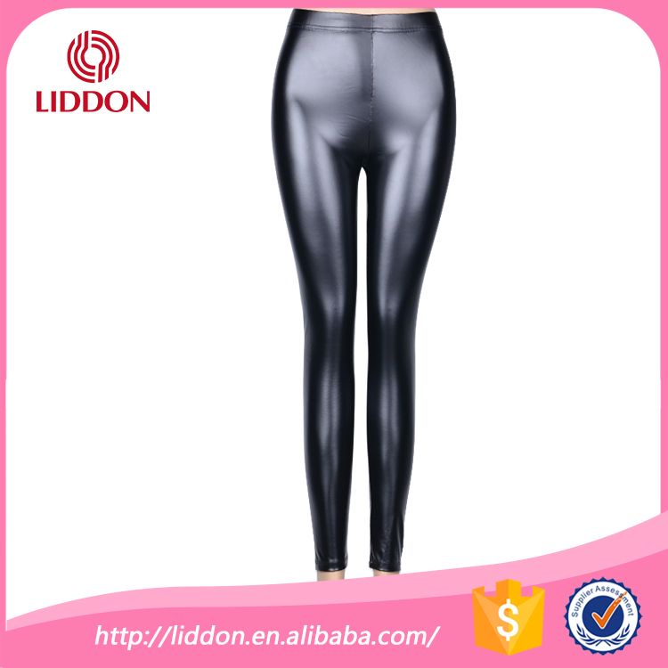 2016 Latest new fashion style PU leather women shiny leggings