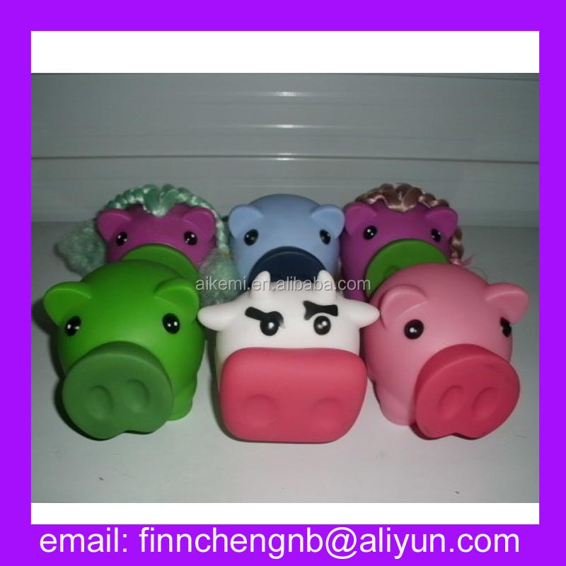 nice quality purple body pig with hair piggy bank ,plastic piggy bank,kids plastic piggy banks