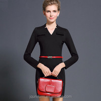 Juqian 2016 dress factory ladies black v neck Office Wear Pencil Business Dresses