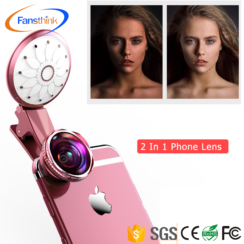 Factory directly wholesale portable beauty flash LED selfie ring ligh 2 In 1 0.63x Wide Angle+20x Macro And Flawless Selfie lens