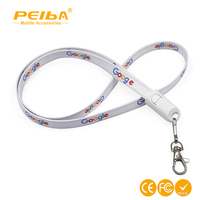2018 New Id Card Holder Lanyard charging cable with heat transfer logo keychain 2 in 1 nylon lanyard usb cable for cellphone