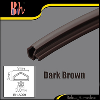 Door Rubber Seals PVC Sealing Strips Timber Wooden Groove Door Window Frame Repair Gasket Anti Collision R 9x5x3.8mm Dark Brown