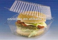 disposable plastic transparent round sandwich hamburger packing box/container/tray with lid/cover