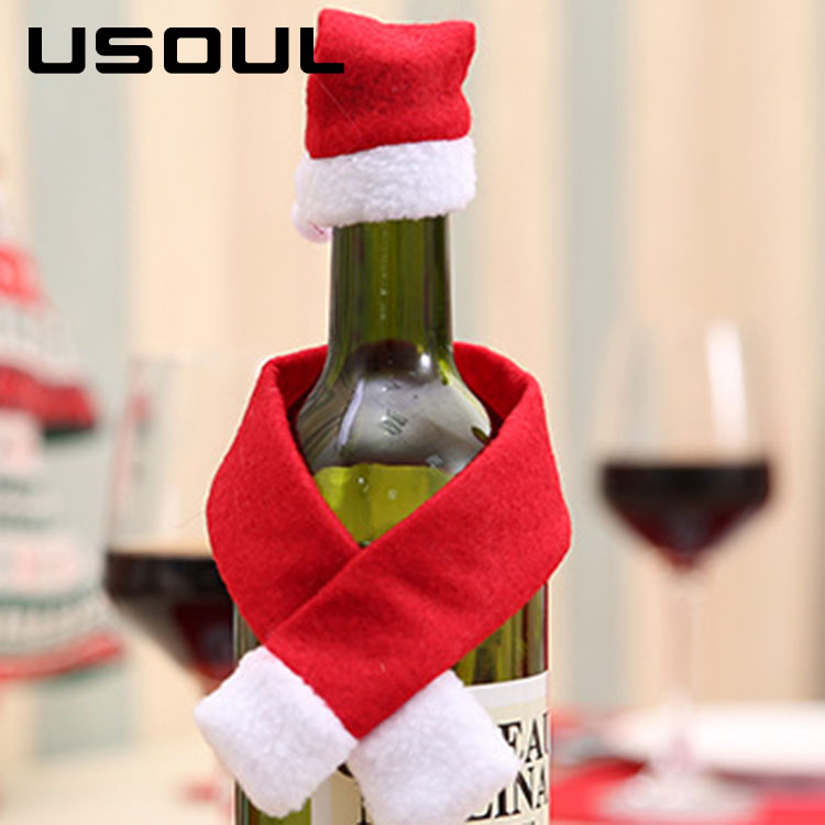 Factory Price Creative Nonwovens Bottle Decoration Christmas Scarfs And Hats