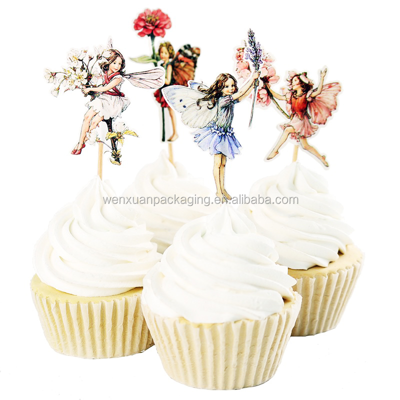 Beauty flower fairy cupcake pick,takeaway easy to use cute cake picks,color disposable pick cake
