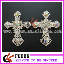 wholesale A/B crystal diamond silver CROSS rhinestone brooch by hand for wedding invitations/party supplies
