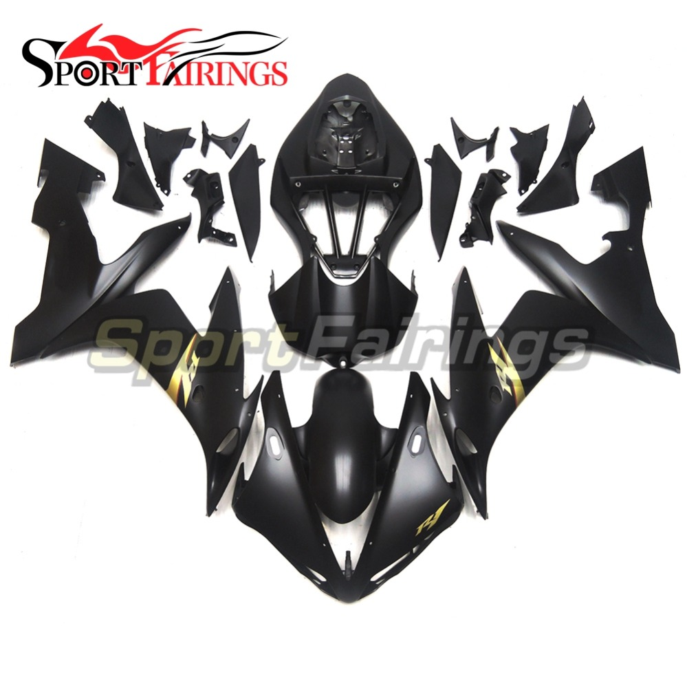Complete Motorcycle Fairings For Yamaha YZF <strong>R1</strong> <strong>2004</strong> 2005 2006 ABS Plastic Injection Fairing Kit Flat Black Gold Decals Covers