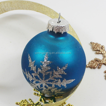 christmas glass blue snow ball christmas tree ball