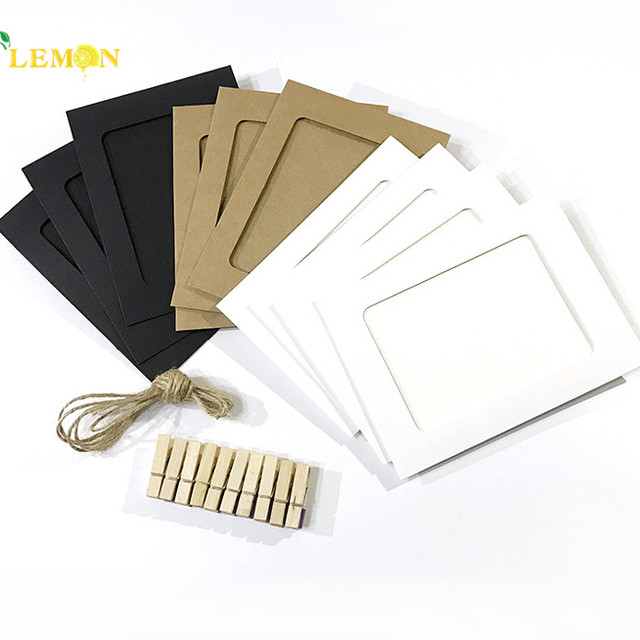 Wall Decor Promotional Gift Item Custom Printing Kraft Paper Photo Frame With Clips