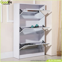 Wooden factory wholesale ready to assemble mirrored shoe rack