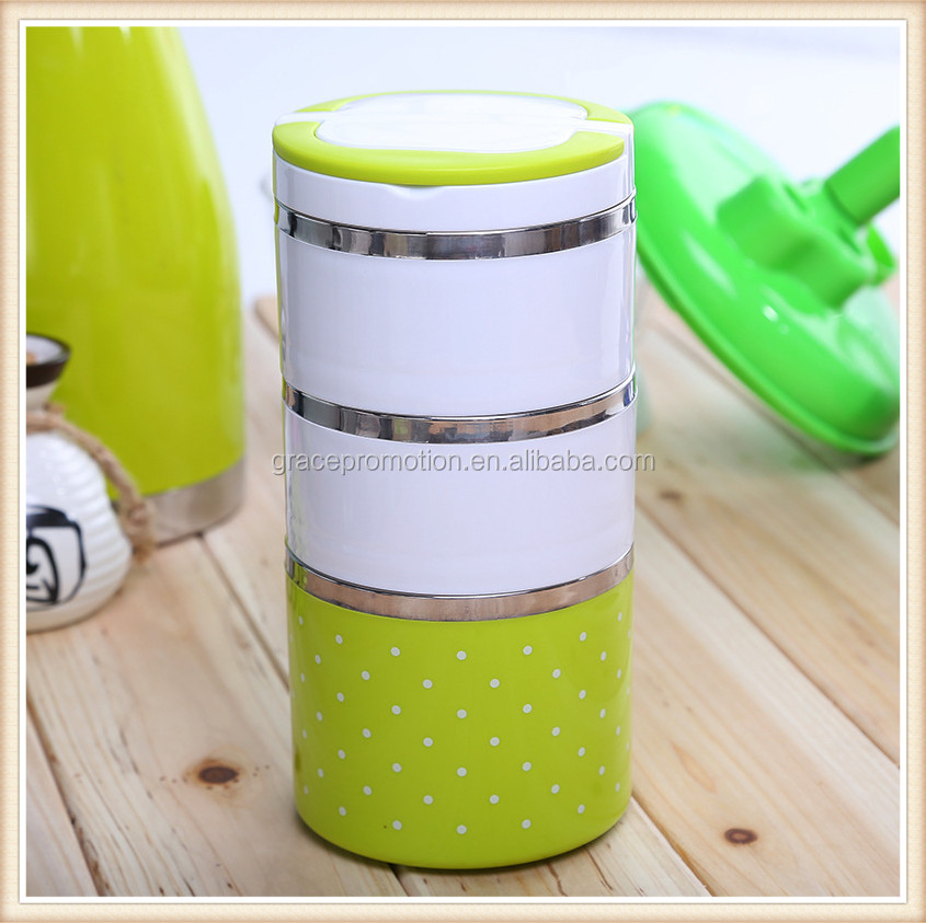 New Style Three Layer Colorful Stainless Steel Double Wall Round Lunch/Bento Box 1000ml