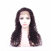 New Arrival Natural Black Deep Wave Full Lace Wig Brazilian Virgin Human Hair Lace Front Wig