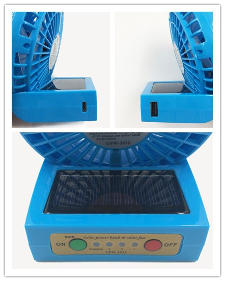 2016 Rechargeable portable solar fan, solar power bank, usb mini fan