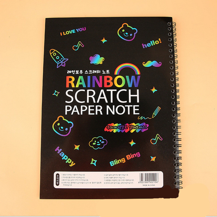 Kindergarten Educational Toys Magic Rainbow Paper Card Scratch Art Painting