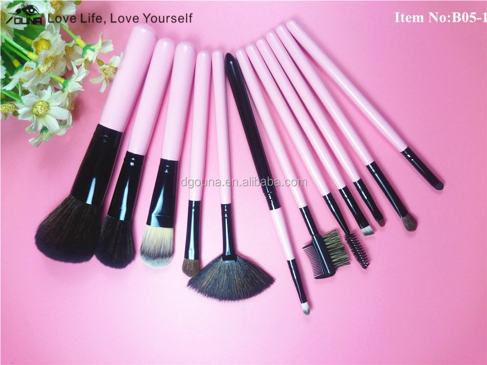Ouna 2016 Free samples double buckle bag goat hair horse hair brush for makeup brushes