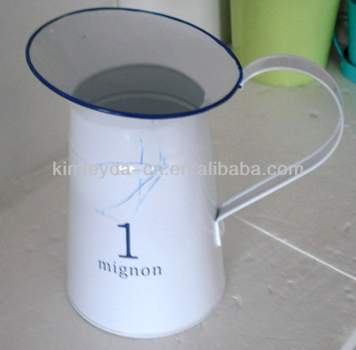 tin pitcher in white