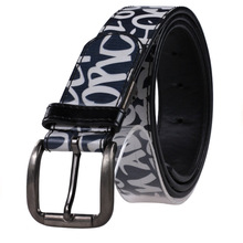 Factory Single Prong Buckle Custom Letters Printed Imitation Leather Belt for Males