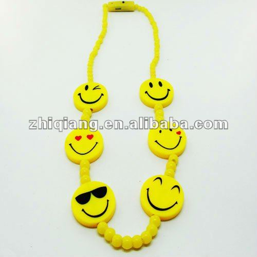 Mardi gras flashing LED smile face necklace