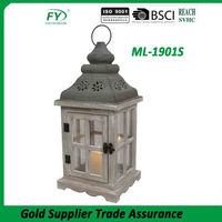 Home decorative new design antique classical house shape wooden candle lantern