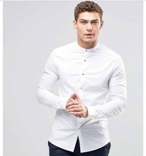 New arrivel men clothes 100% cotton twill fabric grandan collar white men dress shirt
