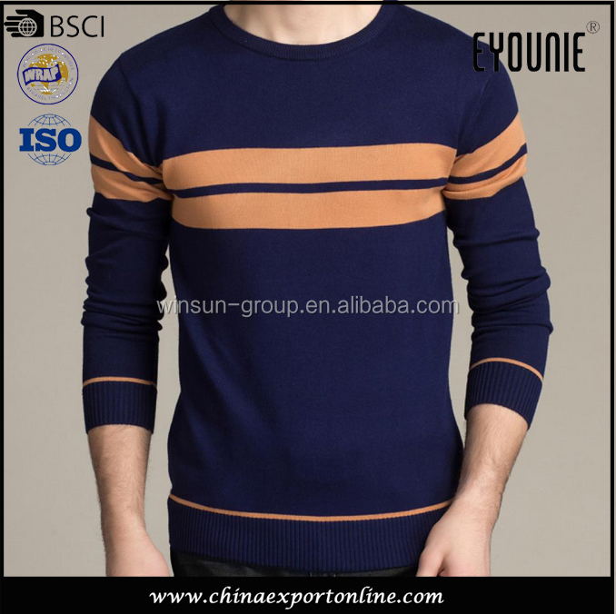 Latest style soft crew neck long sleeve stripe knitted sweater man