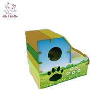 Colored 2 Floor Patterned Corrugated Cheap Cat Houses