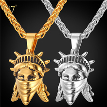 U7 American Rebel 316L Stainless Steel Men/Women Chain US Symbol Jewelry , Gold Plated Statue Of Liberty Necklace with chain