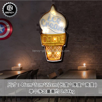 Ice Cream LED Light Metal Bar Sign for Wall Decoration