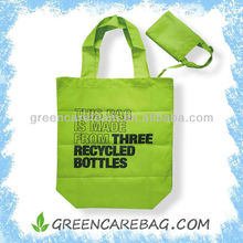 Recycled PET Polyester Green Tote Supermarket Bag Foldable
