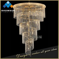 Chinese wedding centerpiece crystal arabian big spiral contemporary lighting
