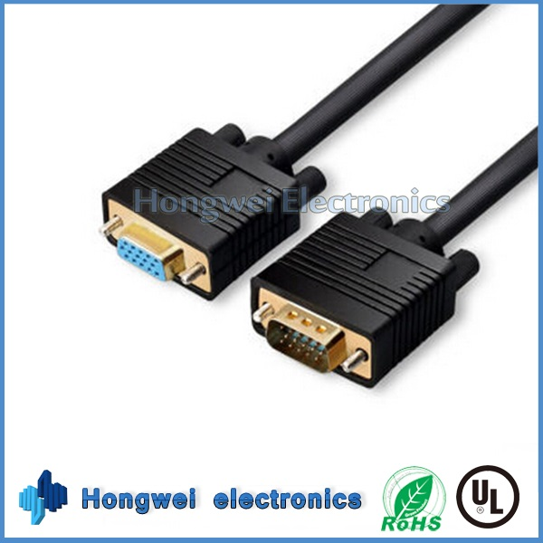 Black High Definition 15 Pin Male To Female VGA Extension Cable