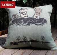 Japanese Style Design Printed Cotton Cushion Cover Car Pillow Chair Seat CushionGarden Decorative Pillow Case