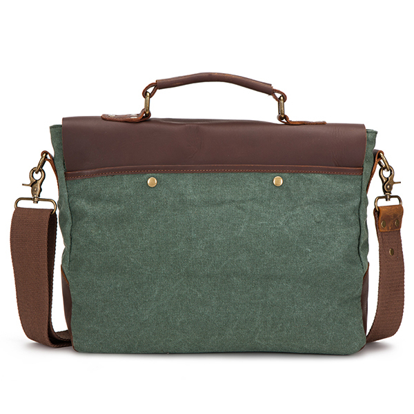 Green canvas super fashion loptop messenger bag