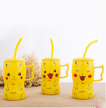 cartoon pikachu pomken Minions Ceramic Mug with Lid and Straw Fashion Mug Tea Cup