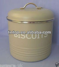 Tea tin with lid/round shape