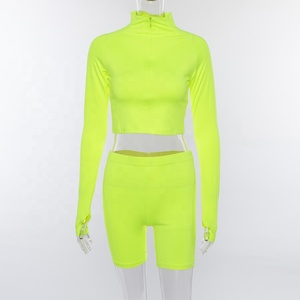 Fluorescent Sexy 2 Piece Set Women Tracksuit Long Sleeve Crop Top and Biker Shorts Matching Sets Neon Sweatsuit