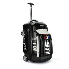 PC ABS hard case children travel luggage trolley bag, kids trolley wheeled roller suitcase with FBI 9 11 police car wagon shape