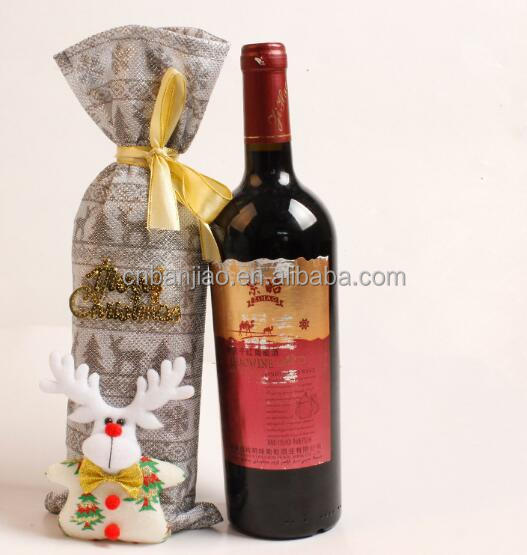 Christmas Red Wine Bottle Cover Bags, Christmas Table Decoration Home Party Decors Santa Claus Wine