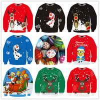 Custom designed crewneck fashion 100% polyester christmas sweatshirt