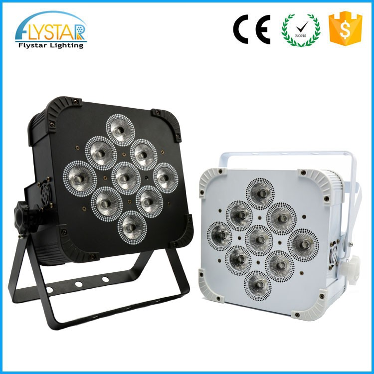 Battery powered led flat par light 9pcs 18w rgbwa+uv wireless led par