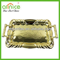 1PC Gold rectangular steel serving tray