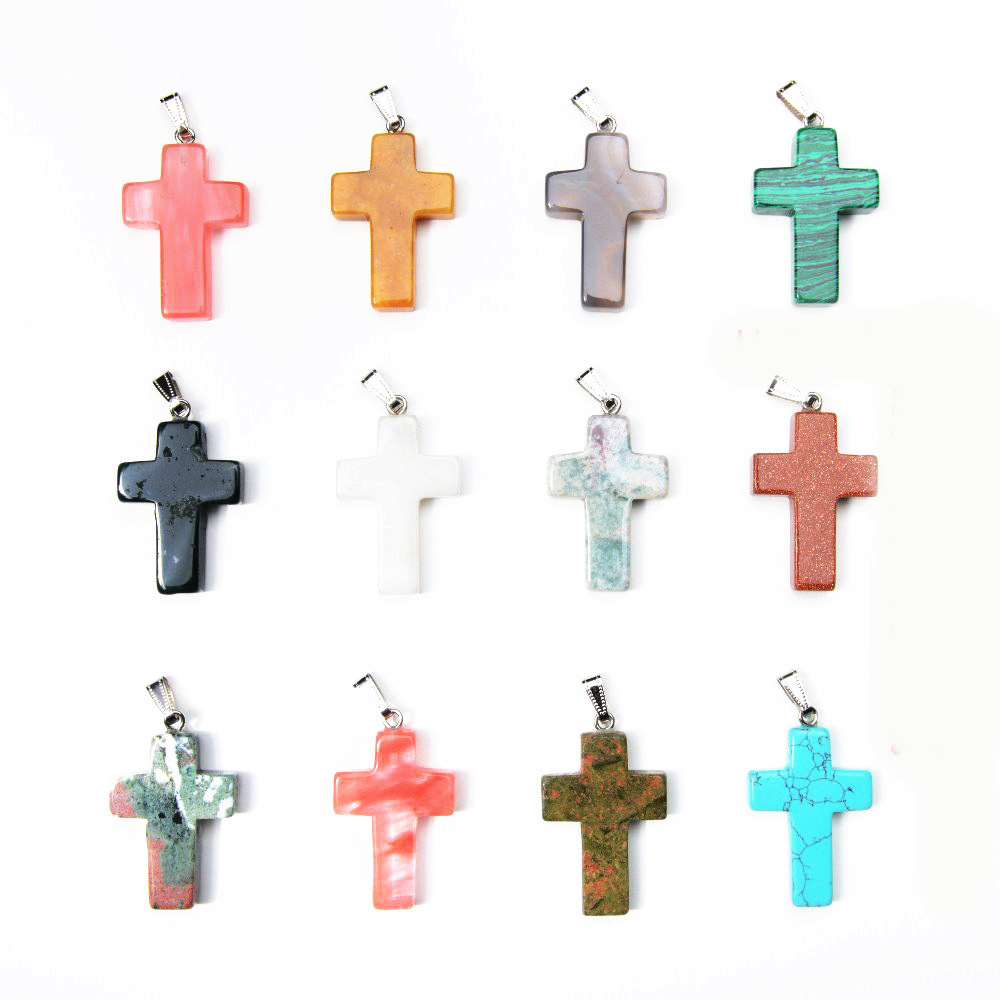 Natural Stone semi-precious stone Turquoise Opal Agate Cross charms Pendants For men Necklaces making Jewelry
