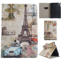 Custom Printed Flip Hard Plastic Back Eiffel Tower Series PU Leather Smart Shell Cases Wallet Card Holder for iPad Pro mini 1 4
