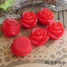 Red Rose Resin Flower Jewelry Flat Back 10mm In Diameter