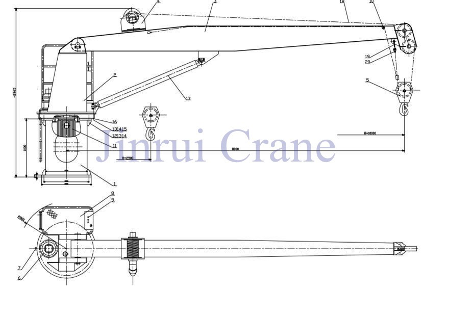 Marine Chinese Hydraulic Ship Deck Crane Floating Ship Crane