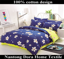 blue 100% cotton fabric four-leaved clover printing tencel bedding set for adults