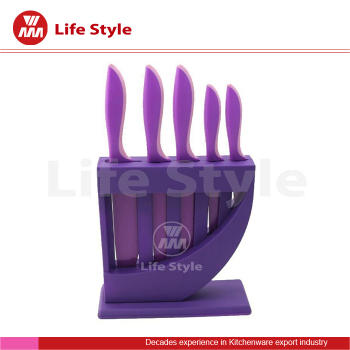 Harp 5pcs plastic kitchen knife block