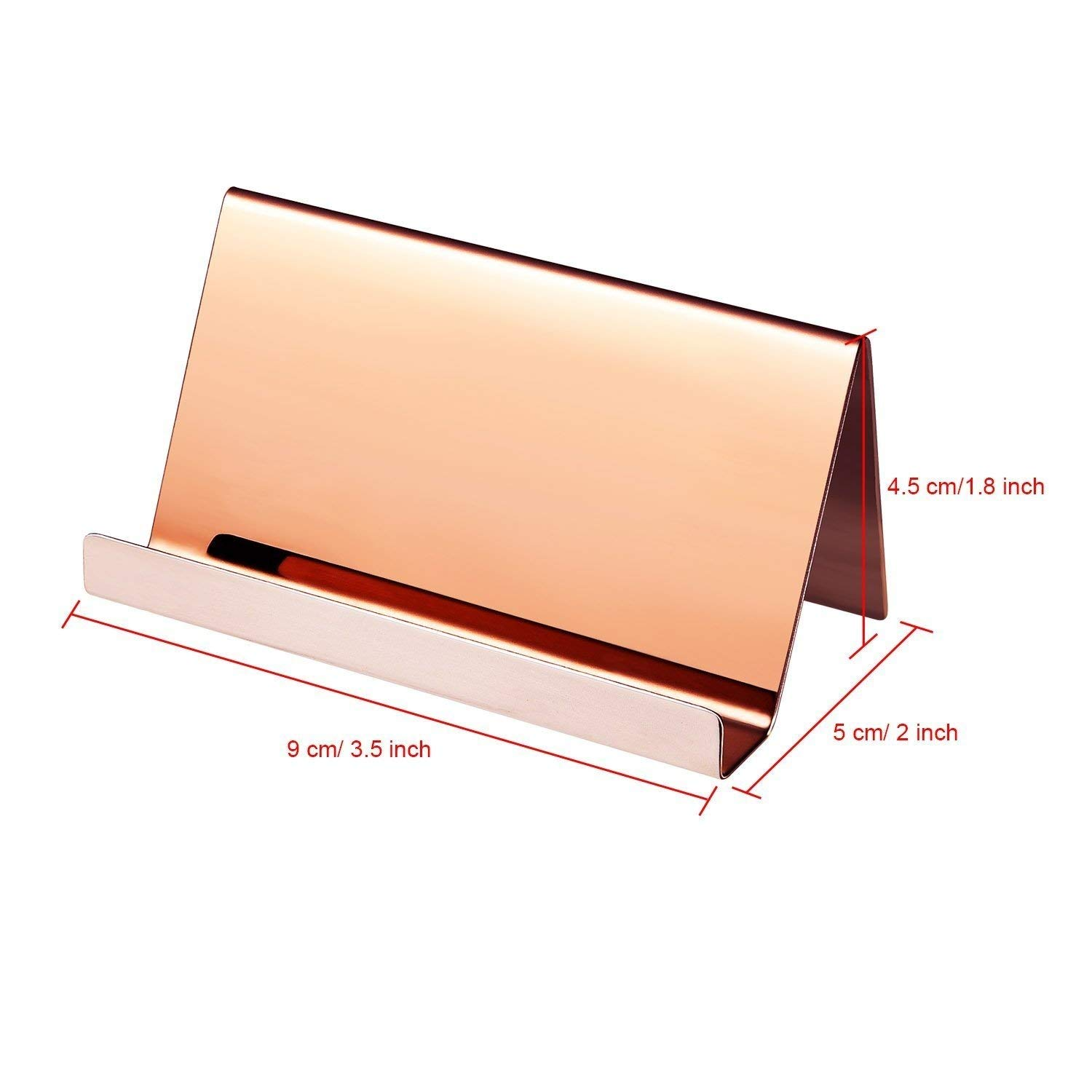 Rose Gold Business Card Holder Stand Desk