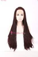 "24"" long Burgundy Expression Synthetic Hair Jumbo Braid 99J 100 Synthetic Braiding Hair Lace Wig for African American Heat Safe"