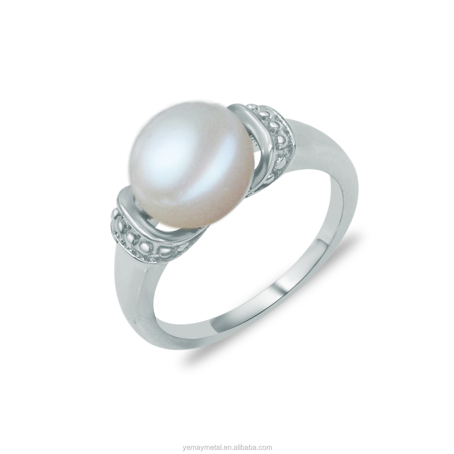 lyst pearl and georg jensen product yellow engagement rings ring white gallery diamond freshwater gold jewelry